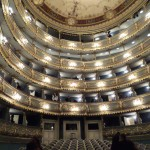 The view of the balcony from the orchestra level